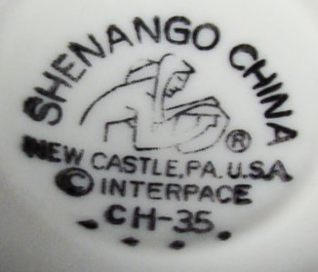 Shenango China mark on vitreous china mug after 1968 purchase by Interpace.