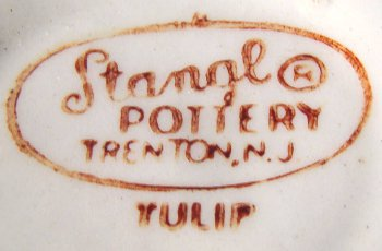 Stangl oval mark on Tulip hand-decorated cup.