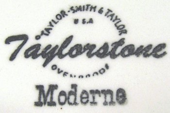 Taylor-Smith & Taylor Taylorstone Moderne black ink backstamp under glaze on mid-century modern design plate.