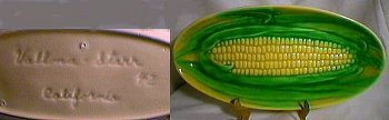 Corn dish with script Vallona Starr California mark.