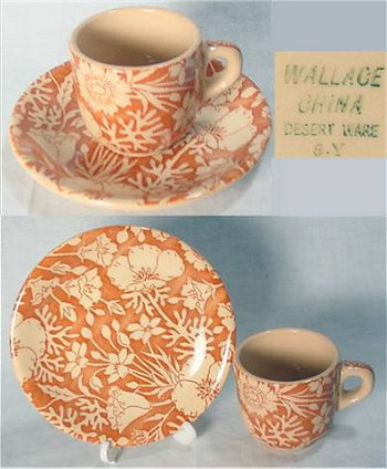 Wallace China desert ware mark on beige clay demi cup and saucer.