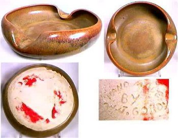 Hand Made by W. J. Gordy incised mark on George Ohr style brown ashtray.