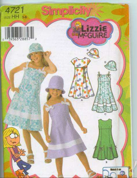 Simplicity girls summer dress and Lizzie McGuire hat sewing pattern.
