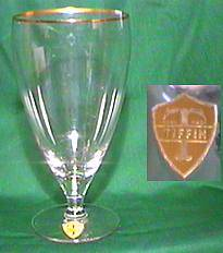 Tiffin crystal glass stem showing vintage foil label